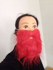 FAKE FALSE BEARD MOE MOUSTACHE PINK RED BLACK BROWN WHITE SCRUFFY BUDGET COSTUME