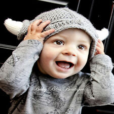 Baby Child Cute Handmade Crochet Viking Knit Hat Photograph 0-12 Months