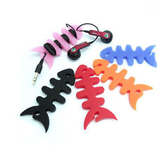 10X Silicone Fish Bone For Apple iPhone iPod Earphone Headphone Cord Winder Wrap