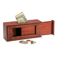 Wooden Sliding Panels Puzzle Box: Bank Keepsake Trinket Jewelry Holder Magic Fun