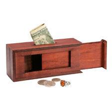 Wooden Sliding Panels Puzzle Box: Bank Keepsake Trinket Jewelry Holder Magic Fun