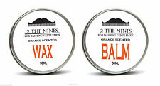 2 The Nines™ Salon 30ml Moustache Wax & 30ml Beard Balm - Tangy Orange Kit