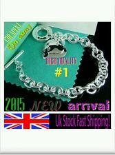 uk 925 sterling silver 2 heart bracelet chain lady men lovers birthday gift bag
