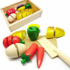 Kids Pretend Role Play Kitchen Fruits Vegetables Food Toys Wooden Cutting Set
