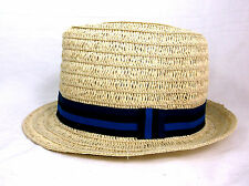 NWT OLD NAVY Mens Womens Tan Straw Fedora Hat Stripe Blue Cloth Band Cap S/M
