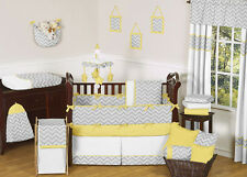 UNIQUE MODERN GRAY YELLOW AND WHITE 9p CHEVRON BABY BOY OR GIRL CRIB BEDDING SET