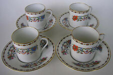 S/4 LIMOGES RAYNAUD CERALENE VIEUX CHINE DEMITASSE CUP & SAUCERS ESPRESSO