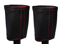 RED STITCH 2X SEAT BELT STALK LEATHER SKIN COVERS FITS KIA SOUL 2009-2014