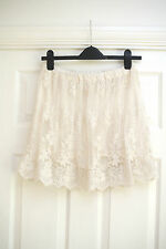 Zara Ivory/Cream Lace Fully Lined Floaty Skirt Floral in Size Small 6 8