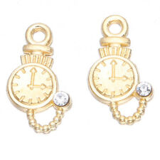 50pcs Single Rhinestone Gold Plated Pocket Watch Pendant Jewelry Charms Lots BS