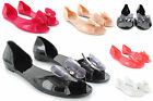 LADIES WOMENS FLAT BUTTETRFLY JELLY SANDAL WITH A DIAMANTE BOW