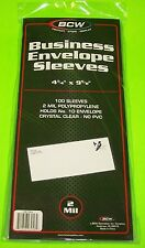 100 #10 ENVELOPE-FIRST DAY COVER POLY SLEEVES-CRYSTAL CLEAR-ARCHIVAL SAFE-BCW