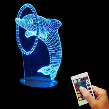 Dolphin 3D LED Optical Illusion Desk Table Night Light USB Color Changing Lamp