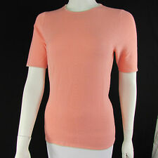 Escada Women Peach Pink Fashion Cashmere Knit Sweater Top Bow Belt 38 / US 4