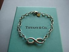 "Authentic Tiffany & Co. Infinity Link Bracelet-7.25"" long- JUST POLISHED w/Box"