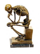 """Art moderne solide bronze """"squelette penseur"""" signé milo"""