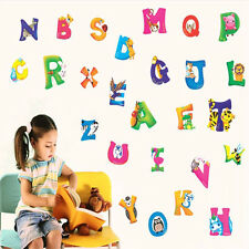 Wall Decal Stickers Kids Baby Study Art Mural Alphabet 26 A-Z Letters Animals