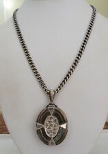 LARGE ANTIQUE VINTAGE 1882 B & C VICTORIAN STERLING SILVER LOCKET CHAIN NECKLACE