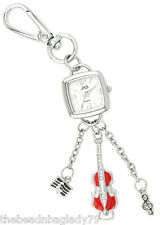 NEW FIRST HAND MUSIC VIOLIN KEYCHAIN WATCH SILVER PLATED with CLEAR Crystals