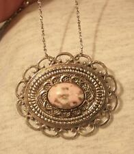 Lovely Loop Rim Textured Silvertone Pink Gray Caramel Cameo Pendant Necklace Pin