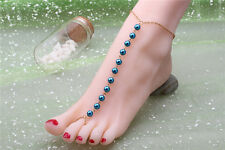 Hot Blue Pearl Beads Toe Ring Anklet Bracelet Beach Barefoot Sandal Foot Jewelry