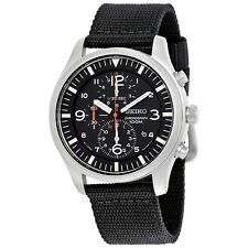 Seiko Criteria Chronograph Black Dial Black Nylon Mens Watch SNDA57
