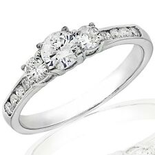 1.10Ct Three Stone Diamond Engagement Ring in 14K White Gold (Not Enhanced)