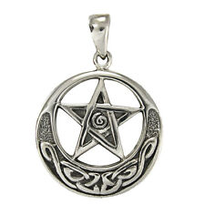Sterling Silver Crescent Moon Pentacle Pentagram Pendant Celtic Knot Wicca Pagan