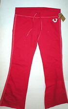 New Womens Designer True Religion Sweat Pants Big T Lounge Red White L Large NWT