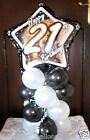 BALLOON TABLE DISPLAY BIRTHDAY PARTY age 21 21st AIR FILL NO HELIUM BLACK