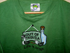 LIFE IS CRAP LIGHT SOFT COTTON SHORT SLEEVE TEQUILA DOUBLE LOGO GOOD T-SHIRT-L