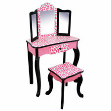Girls Leopard Vanity Set Stool Mirror Make Up Table 3 Pc Drawer