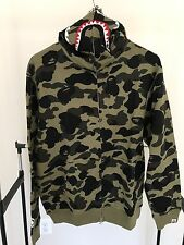 A Bathing Ape Bape Men Shark 1st Green Camo WGM Full Zip Hoodie Size XL