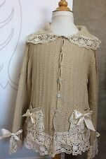I PINCO PALLINO Tan Cream LACE TRIMMED CARDIGAN SWEATER Girls 10 12 ITALY EU