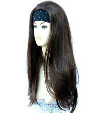 Medium Brown 3/4 Wig Half Wig Clip In Hair Piece. Premium Vogue Wigs UK