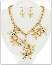 GOLD STARFISH CHARM SILVER ACCENT CHUNKY STATEMENT NECKLACE & EARRING SET