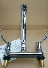 TWIN LEVER KITCHEN SINK DECK MIXER TAP CHROME TAPS 1/4 TURN 2 HOLE FITMENT HS