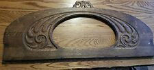 Vintage oak pediment mirror carved
