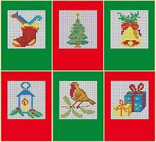 Set of 6 Assorted Christmas Cards  - Cross stitch card kit, includes 6 cards