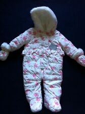 BN Baby Girls 3-6 Months, Pink & White Fully Lined Snow Suit With Detachable Mit