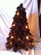 Vtg Table Top PineCone Lighted Christmas Tree Primitive Country decor