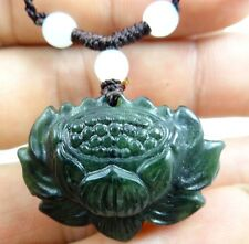 Beautiful 100% Chinese jade hand-carved the statue of lotus flower PENDANT  C-1