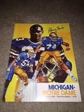 1982 NOTRE DAME VS MICHIGAN FOOTBALL PROGRAM COVER SIGNED GERRY FAUST