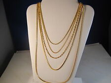 """5-PCS. OF VARIOUS DESIGNS 16"""" IN LENGTH GOLD FILLED CHAINS LOT#5-UNIQUE DESIGN!!"""