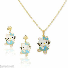 Satz Schmuck 3 Teile Hello Kitty Blau GOLD gf 18 CT Baby Kinder Taufe AC 44