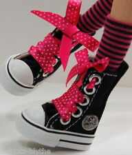 Custom Sneakers Shoes For Blythe/Pullip/Monster High/Lalaloopsy/Dal -SN329,Black
