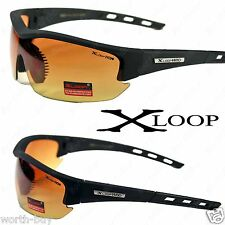 New X-Loop HD High Definition Mens Sunglasses Sports Black Driving Wrap Glasses