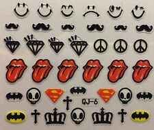 Nail Art 3D Decal Stickers Lips & Tounge Diamond Mustache Cross Crown Skull QJ-6