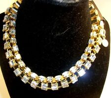 "White House Black Market Signed 14""NECKLACE gold tone rhinestone wrap around NWT"
