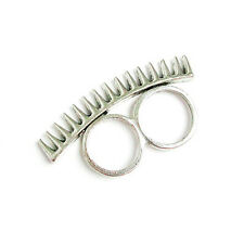 New Grunge Punk Silver Spike Stud Double 2 Two Finger Knuckle Connector Ring 6 7